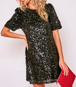 All Night Long Black Sequin Dress