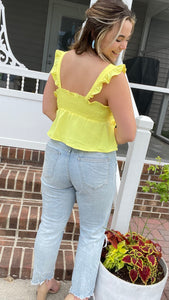 Cover Me In Sunshine Crop Top- Yellow