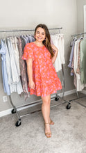 Load image into Gallery viewer, Tropical Paradise Pink & Orange Swing Dress