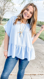 The Best Thing Ruffle Top- Carolina Blue