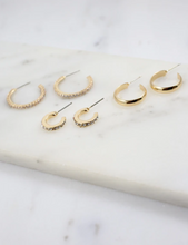 Load image into Gallery viewer, Arielle 3 Gold Hoop Earrings Set