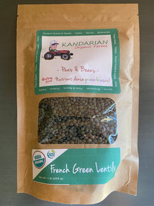 Organic French Green Lentils from Kandarian Farms