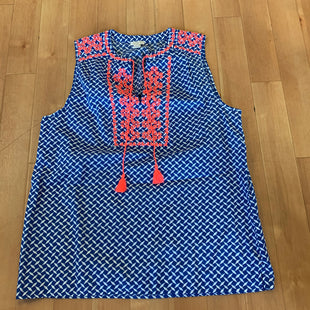 Primary Photo - BRAND: J CREW STYLE: TOP SLEEVELESS COLOR: BLUE SIZE: 6 OTHER INFO: WHITE PRINT/PINK DETAIL SKU: 257-25748-2927