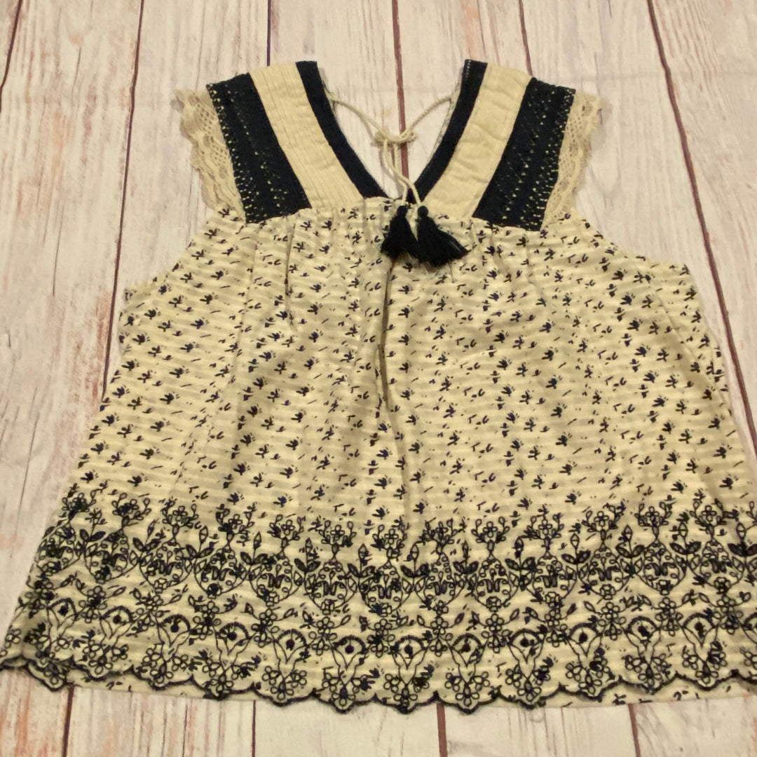 Primary Photo - BRAND: LUCKY BRAND <BR>STYLE: TOP SLEEVELESS <BR>COLOR: PRINT <BR>SIZE: 3X <BR>OTHER INFO: NAVY & IVORY <BR>SKU: 257-257180-1095