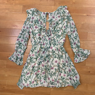 Primary Photo - BRAND: FREE PEOPLE STYLE: DRESS SHORT LONG SLEEVE COLOR: CREAM SIZE: XS OTHER INFO: W/GREEN FOLIAGE/PINK FLOWERS SKU: 257-257100-869