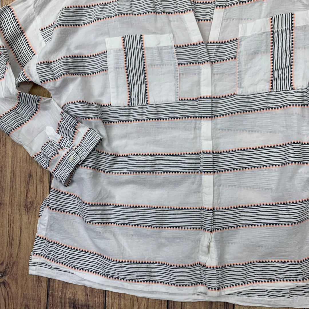 Top Long Sleeve By Old Navy  Size: Xxl - BRAND: OLD NAVY <BR>STYLE: TOP LONG SLEEVE <BR>COLOR: WHITE <BR>SIZE: XXL <BR>OTHER INFO: PINK AND BLACK STRIPES <BR>SKU: 257-257100-924