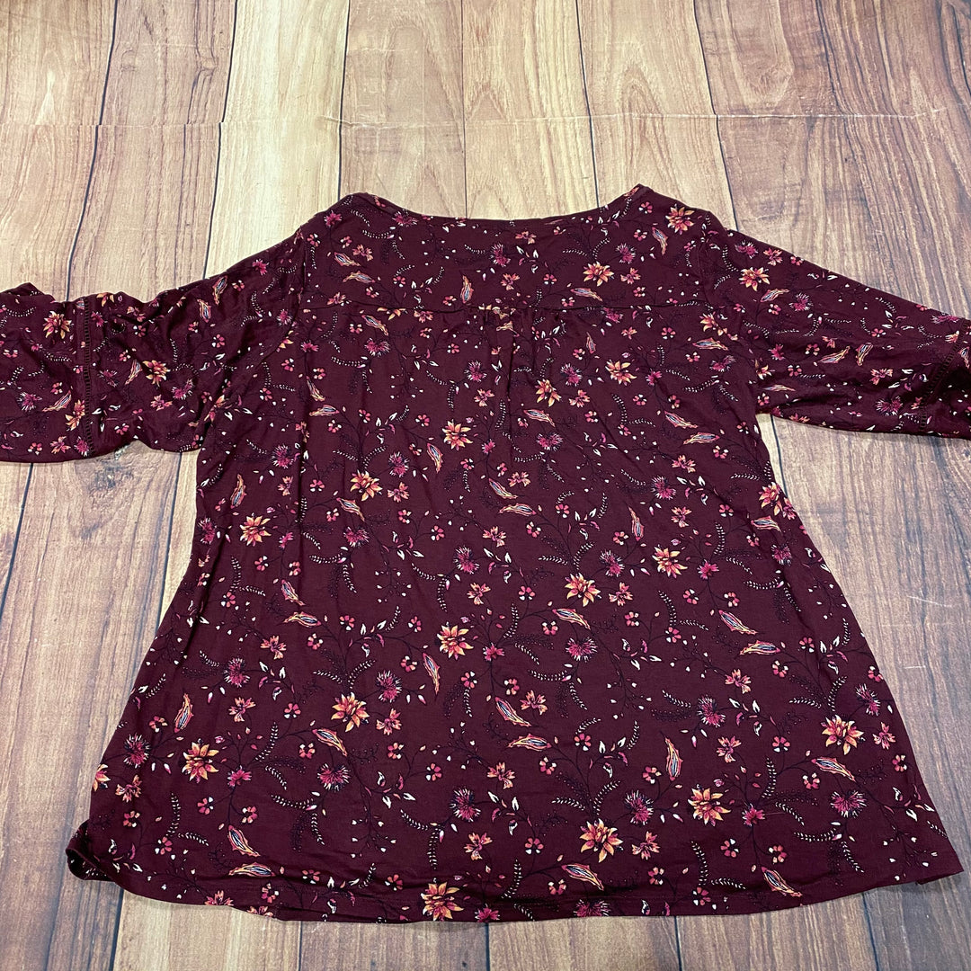 Photo #2 - BRAND: WESTPORT <BR>STYLE: TOP LONG SLEEVE <BR>COLOR: BURGUNDY <BR>SIZE: 1X <BR>SKU: 257-25748-7303