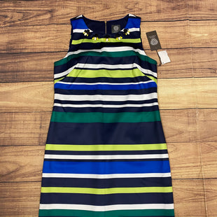 Primary Photo - BRAND: VINCE CAMUTO STYLE: DRESS SHORT SLEEVELESS COLOR: STRIPED SIZE: S OTHER INFO: BLUE/WHITE/LIME GREEN/GREEN/GEMS ON NECKLINE-NEW! SKU: 257-25774-14858