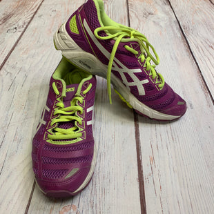 Shoes Athletic By Asics  Size: 7.5 - BRAND: ASICS STYLE: SHOES ATHLETIC COLOR: PURPLE SIZE: 7.5 OTHER INFO: PURPLE AND NEON GREEN SKU: 257-257194-205
