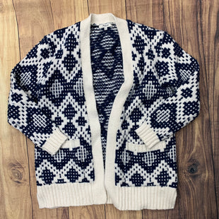 Primary Photo - BRAND: MADEWELL STYLE: SWEATER CARDIGAN HEAVYWEIGHT COLOR: BLUE WHITE SIZE: XS OTHER INFO: DIAMOND PATTERN SKU: 257-257100-154