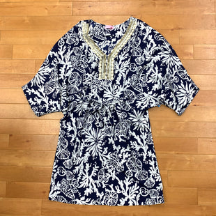 Top Long Sleeve By Lilly Pulitzer  Size: M - BRAND: LILLY PULITZER STYLE: TOP LONG SLEEVE COLOR: BLUE WHITE SIZE: M OTHER INFO: TIE WAIST/BEADED NECK LINE SKU: 257-257183-2487