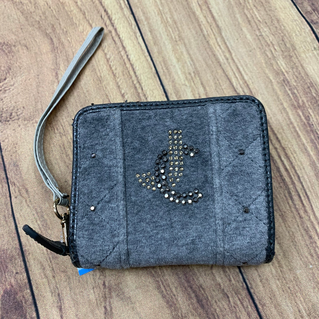 Primary Photo - BRAND: JUICY COUTURE <BR>STYLE: WALLET <BR>COLOR: GREY <BR>SIZE: MEDIUM <BR>OTHER INFO: VELVET W/ CRYSTALS-SLIGHT SCUFFS <BR>SKU: 257-25786-5650