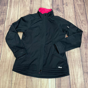 Athletic Jacket By Fila  Size: M - BRAND: FILA STYLE: ATHLETIC JACKET COLOR: BLACK SIZE: M OTHER INFO: PINK INTERIOR SKU: 257-257100-897