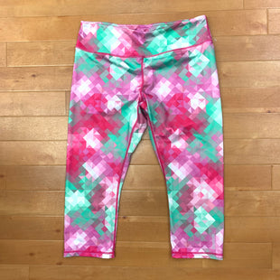 Athletic Capris By Reebok  Size: L - BRAND: REEBOK STYLE: ATHLETIC CAPRIS COLOR: PRINT SIZE: L OTHER INFO: PINK/GREEN/WHITE/PURPLE SKU: 257-25786-4962