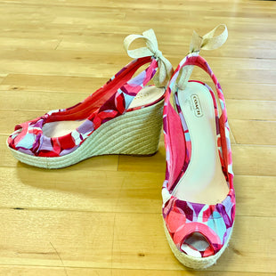 Primary Photo - BRAND: COACH STYLE: SANDALS HIGH COLOR: WHITE PINK PURPLE REDSIZE: 9.5 OTHER INFO: AS IS/GLUE ON WEDGE SKU: 257-25774-12512