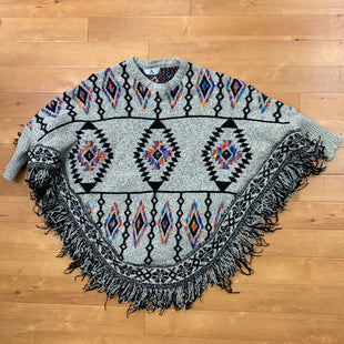 Primary Photo - BRAND: AZSTYLE: PONCHO COLOR: GREY OTHER INFO: RAINBOW AND BLACK TRIBAL DESIGN SKU: 257-257100-980
