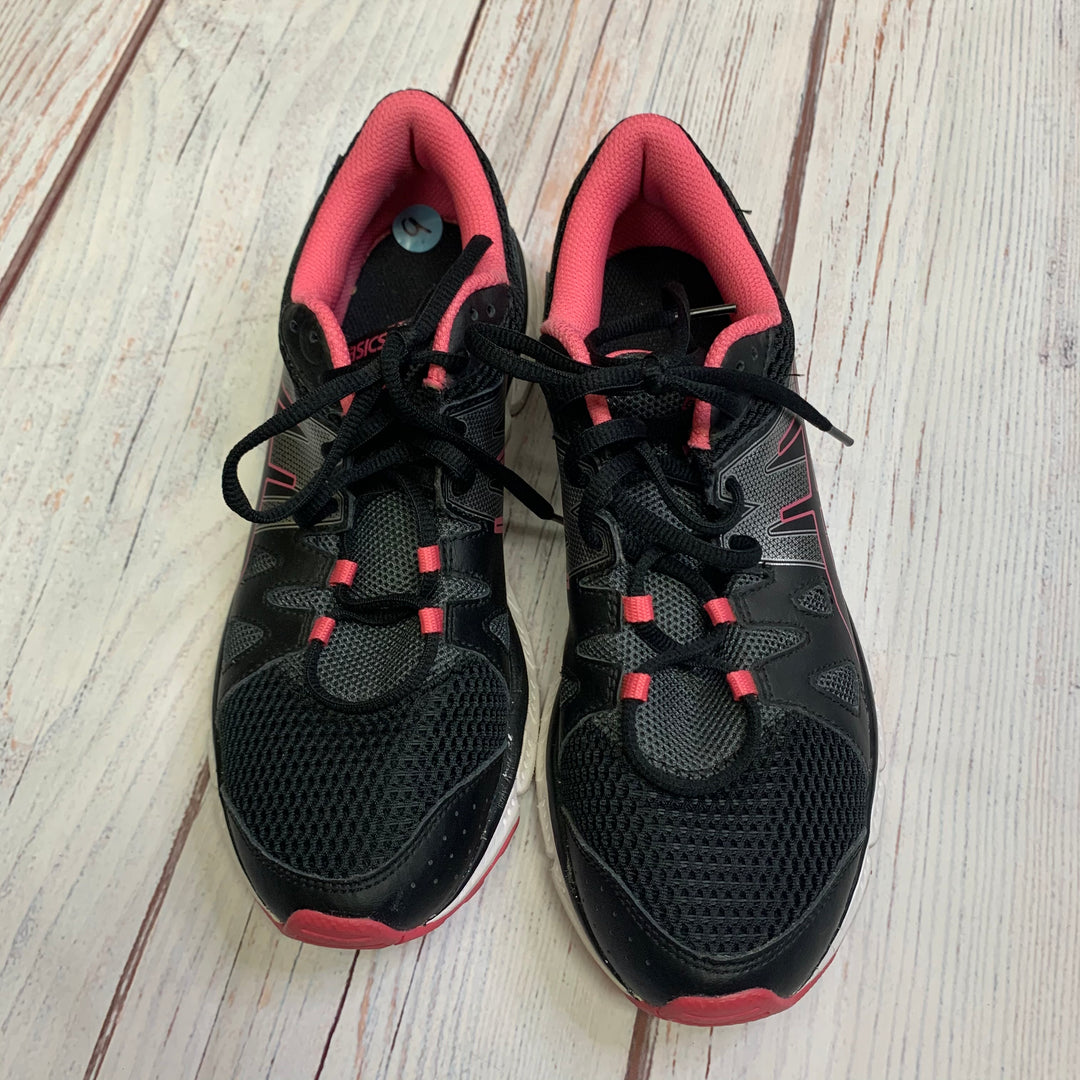Shoes Athletic By Asics  Size: 9 - BRAND: ASICS <BR>STYLE: SHOES ATHLETIC <BR>COLOR: BLACK <BR>SIZE: 9 <BR>OTHER INFO: BLACK/GREY/PINK <BR>SKU: 257-257183-2110