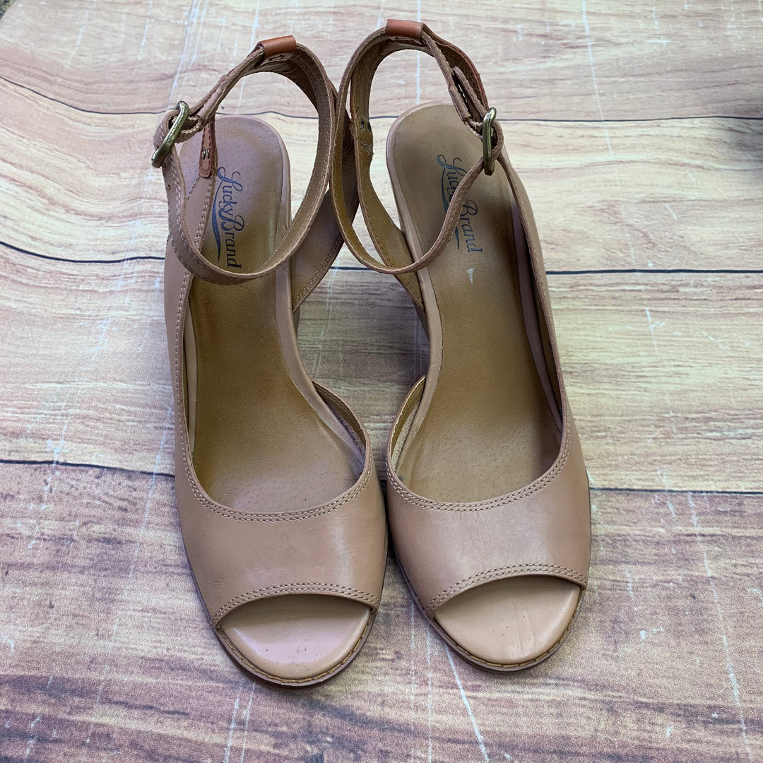 Sandals High By Lucky Brand  Size: 9.5 - BRAND: LUCKY BRAND <BR>STYLE: SANDALS HIGH <BR>COLOR: TAN <BR>SIZE: 9.5 <BR>SKU: 257-25750-1586
