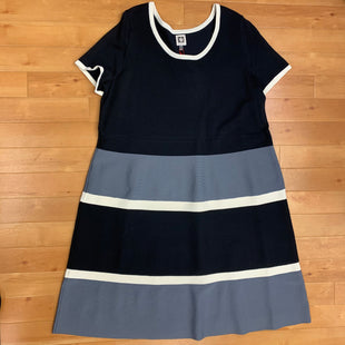 Primary Photo - BRAND: ANNE KLEIN STYLE: DRESS SHORT SHORT SLEEVE COLOR: STRIPED SIZE: 2X OTHER INFO: NEW! BLACK/CREAM/GREY SKU: 257-25786-5452