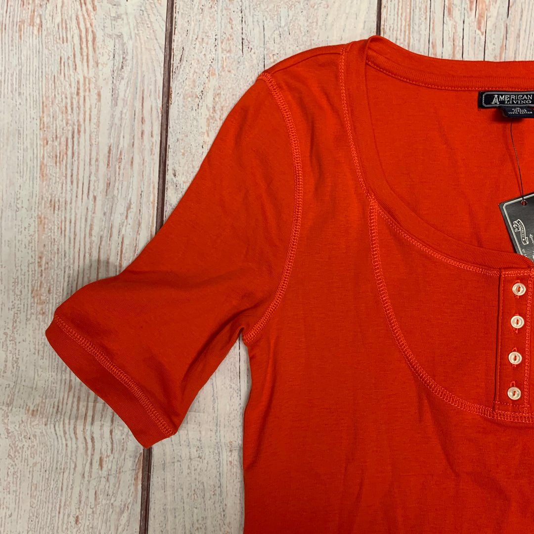 Top Short Sleeve By American Living  Size: S - BRAND: AMERICAN LIVING <BR>STYLE: TOP SHORT SLEEVE <BR>COLOR: ORANGE <BR>SIZE: S <BR>OTHER INFO: NEW! <BR>SKU: 178-17822-46900