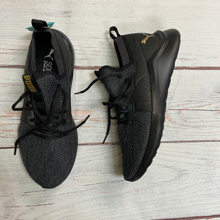 Shoes Athletic By Puma  Size: 9.5 - BRAND: PUMA STYLE: SHOES ATHLETIC COLOR: BLACK SIZE: 9.5 OTHER INFO: GOLD SKU: 257-25774-16223