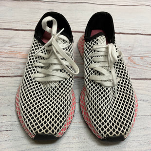 Shoes Athletic By Adidas  Size: 7 - BRAND: ADIDAS STYLE: SHOES ATHLETIC COLOR: WHITE BLACK SIZE: 7 OTHER INFO: HOT PINK UNDER NETTING SKU: 257-257100-1023