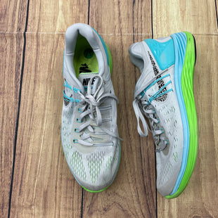 Shoes Athletic By Nike  Size: 9.5 - BRAND: NIKE STYLE: SHOES ATHLETIC COLOR: BLUE GREEN SIZE: 9.5 OTHER INFO: GREY SKU: 257-25774-16167