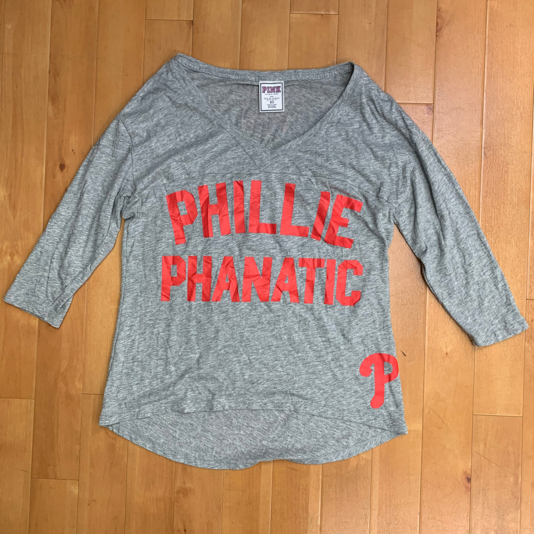 Primary Photo - BRAND: PINK <BR>STYLE: TOP LONG SLEEVE <BR>COLOR: GREY RED <BR>SIZE: XS <BR>OTHER INFO: PHILLIES PHANATIC <BR>SKU: 257-25774-15523