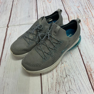 Primary Photo - BRAND: SKECHERS STYLE: SHOES ATHLETIC COLOR: GREY SIZE: 7.5 OTHER INFO: WHITE GREY AND AQUA SKU: 257-25797-79