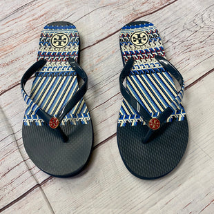 Primary Photo - BRAND: TORY BURCH STYLE: FLIP FLOPS COLOR: BLUE SIZE: 8 OTHER INFO: BLUE AND RED PRINT, RED LOGO IN CENTER SKU: 257-257108-107