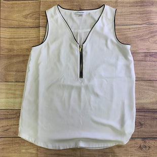 Primary Photo - BRAND: CALVIN KLEIN STYLE: TOP SLEEVELESS COLOR: WHITE SIZE: M OTHER INFO: BLACK SEAM ACCENTS AND ZIPPER FRONT SKU: 257-257103-550