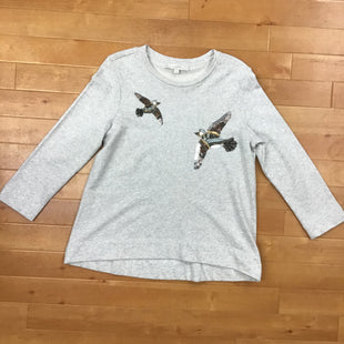 Primary Photo - BRAND: LOFT STYLE: SWEATER CARDIGAN LIGHTWEIGHT COLOR: GREY SIZE: M OTHER INFO: W/SEQUIN BIRDS SKU: 257-257180-967