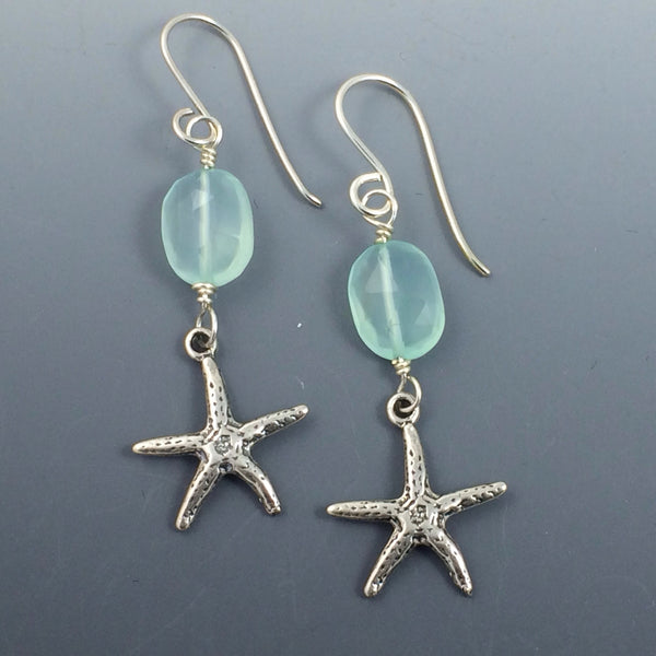 Sterling Silver Starfish With. Blue Chalcedony