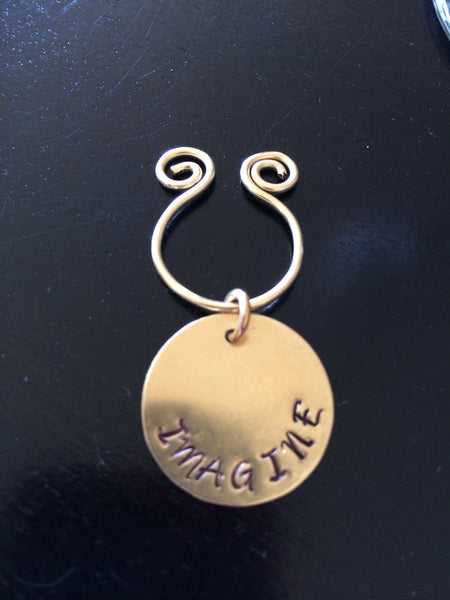 Customized Hand-stamped Gold Wine Charm