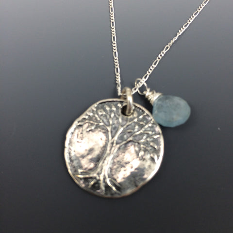 Sterling Silver Tree of Life Pendant with an Aquamarine Briolette