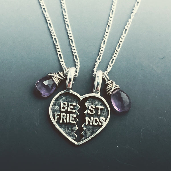 Sterling Silver Break-Apart Charm with your choice of Gemstone, Includes two chains, one for each BFF!