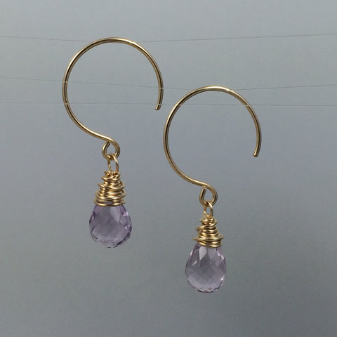Amethyst Briolettes on 14k Gold-Filled Hoops