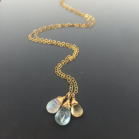 Gold-filled Gemstone Necklace with birthstones or your choice of gemstone