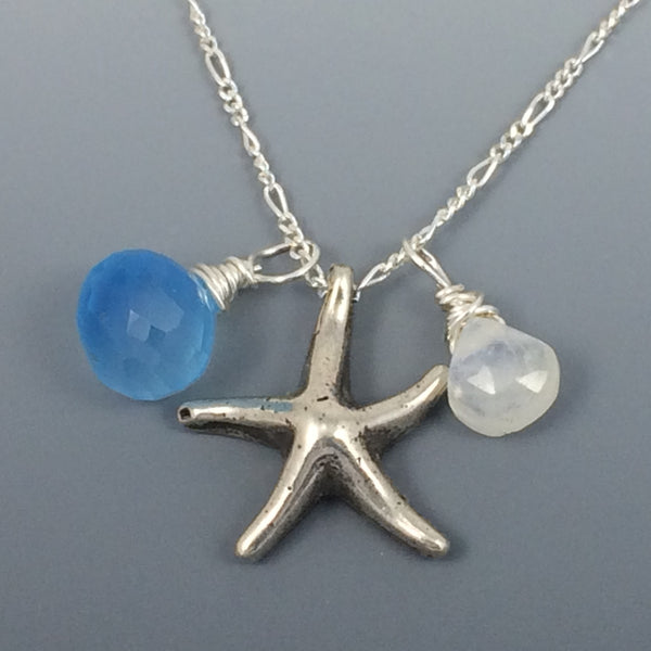 Sterling Silver Starfish Necklace with Chalcedony and Moonstone