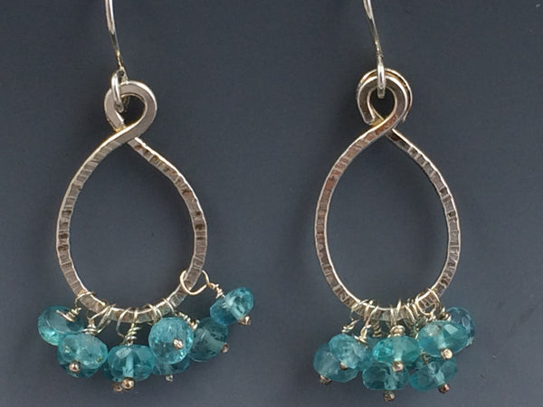 Textured Sterling Silver Wire with Apatite Rondelle Bead Earrings
