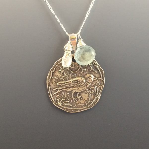 Aquamarine and Moonstone Sterling Silver Bird Necklace