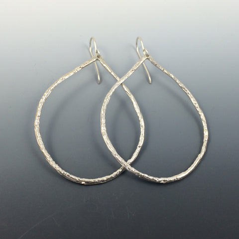 Large Sterling Silver Oval Hoop Earrings