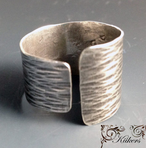Sterling Silver Thick Wrap Ring with Hammered Wood Texture