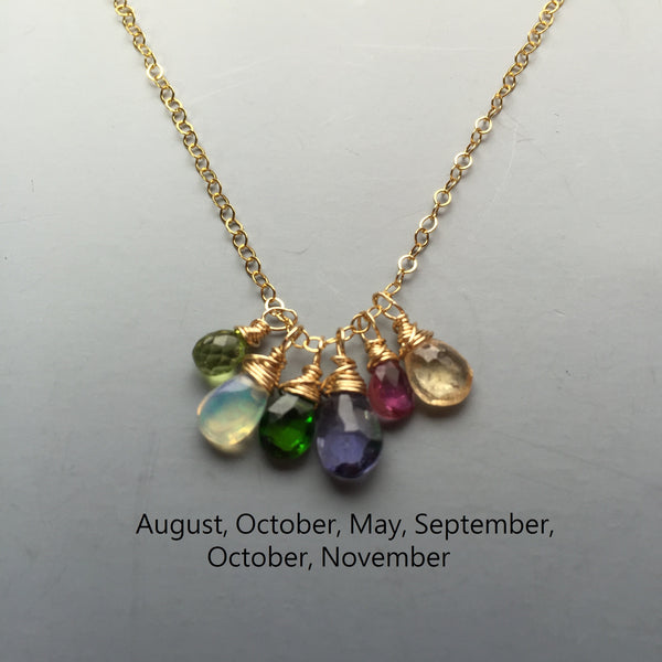 14k Gold-Filled Birthstone Necklace - As Many Gemstones as you want!