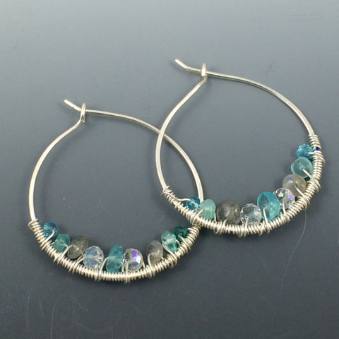 Apetite and Moonstone Wire Wrapped Hoop Earrings - Argentium Silver