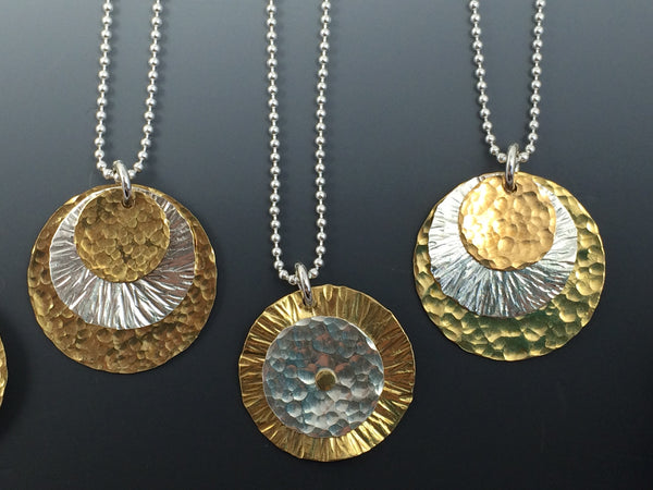 Bronze, Silver And Gold  Necklace