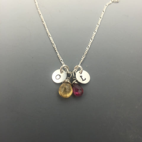Sterling Silver Birthstone and Initial Necklace