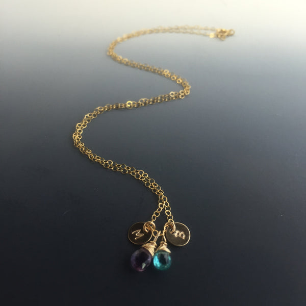 14k Gold-Filled Birthstone and Initial Necklace