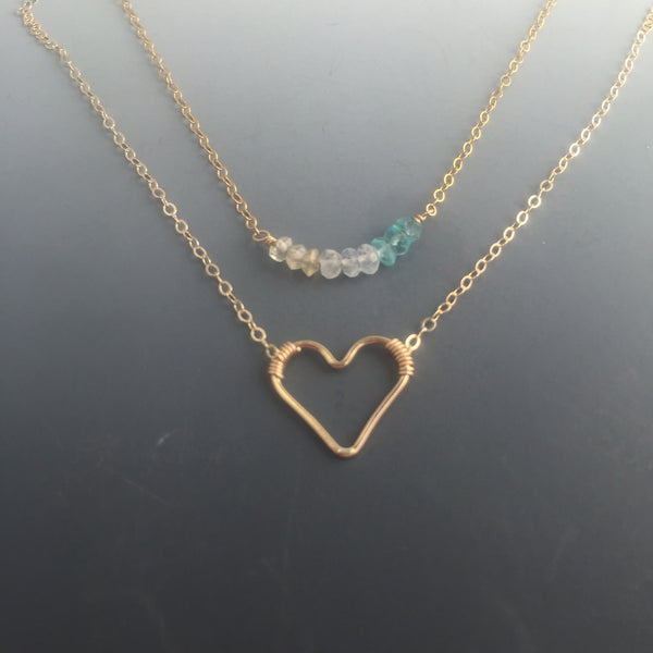 14k Goldfilled Floating Heart Necklace, Any Length