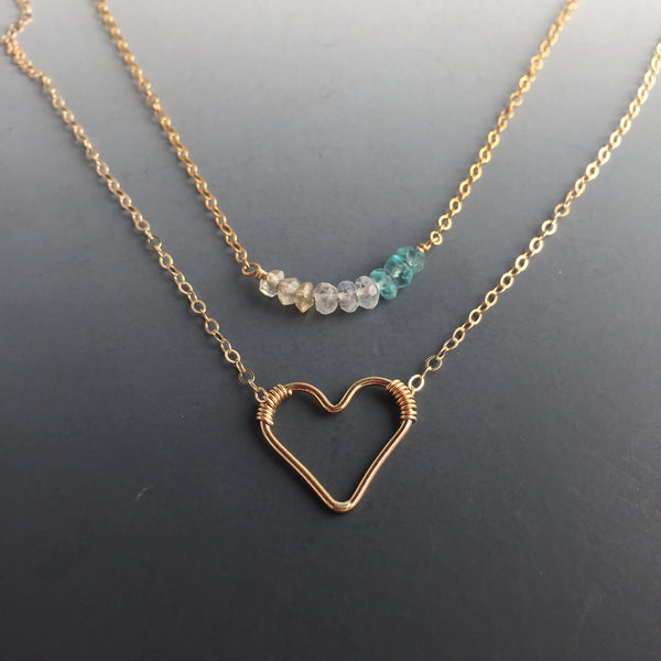 Set of two necklaces  - 14k Goldfilled Floating Heart Necklace and Birthstone/Gemstone Bar Necklace